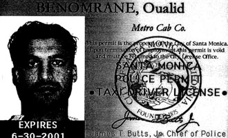 Qualid Benomrane&#8217;s 2001 tax driver license.
